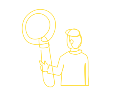 Data catalog symbol image with a person holding a oversized magnifier