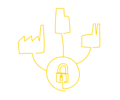 Trusted data hub symbol image with a symbol of a lock in the middle connecting factories and other data consumers