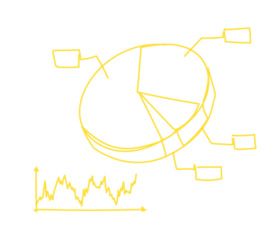 Workbench symbol image with a cake and a curve diagramm